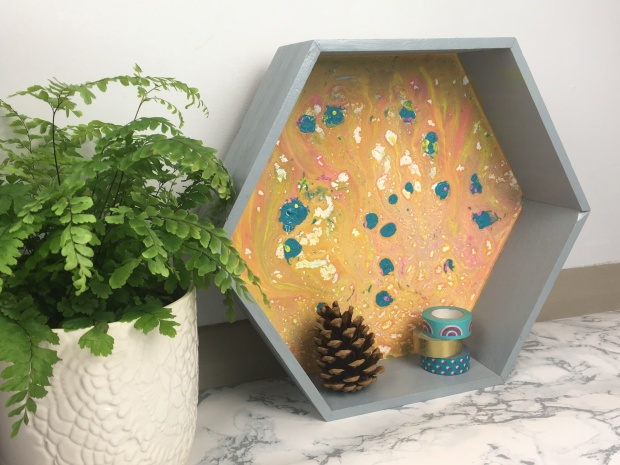 Hexagon blue Shelf with plant