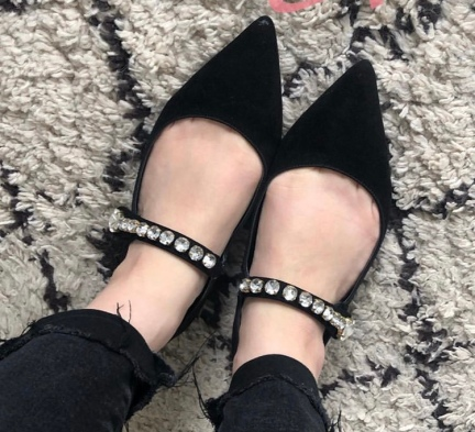 black shoes with jewelled cross bar